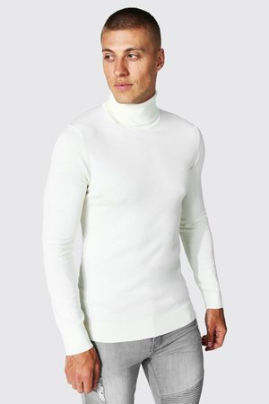 Boohoo Mens Cream Recycled Muscle Roll Neck Jumper