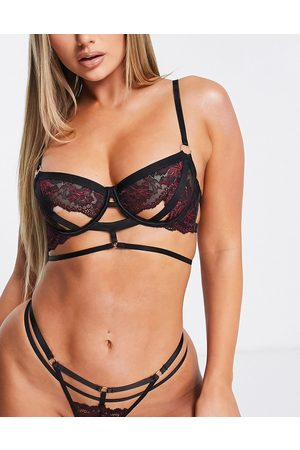 Hunkemöller Piper non padded open cup detail contrast lace bra in and red