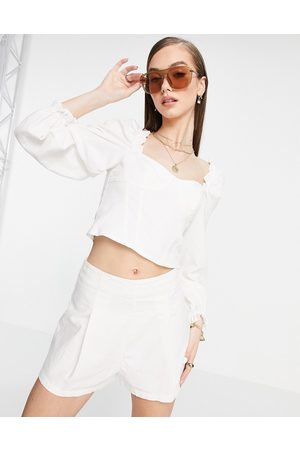 & OTHER STORIES & corset detail linen blouse in off white