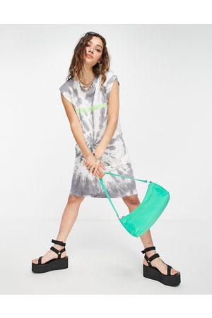 House of Holland Tie-dye sleeveless T-shirt dress-Grey