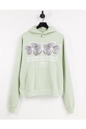 Night Addict Butterfly chest printed hoodie in