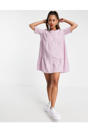 Urban Threads Tiered smock dress in lilac gingham-Purple