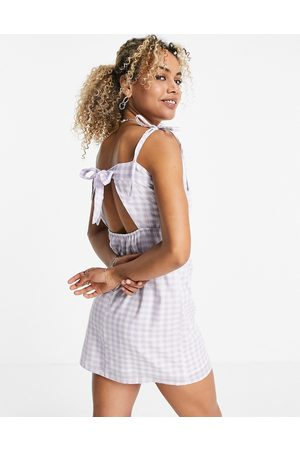 VIOLET ROMANCE Tie-back mini dress in lilac gingham-Purple