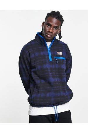 Fila Half zip fleece in black & blue-White