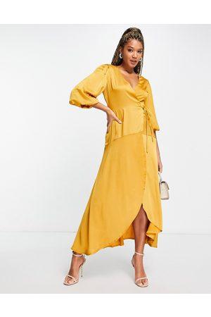 Liquorish Midi wrap dress with balloon sleeves in mustard