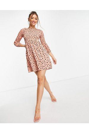 Glamorous Mini tea dress with shirring in ditsy floral-Orange