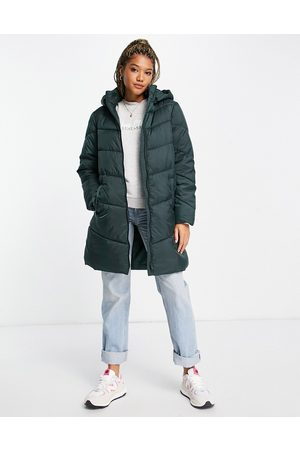 VILA Recycled padded coat with hood in green