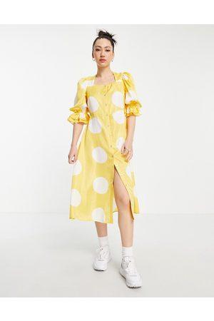 VERO MODA Square neck puff sleeve midi dress in yellow & white spot-Multi