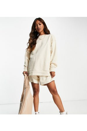 SELECTED Exclusive Unisex organic cotton sweat shorts co-ord in sand-Neutral