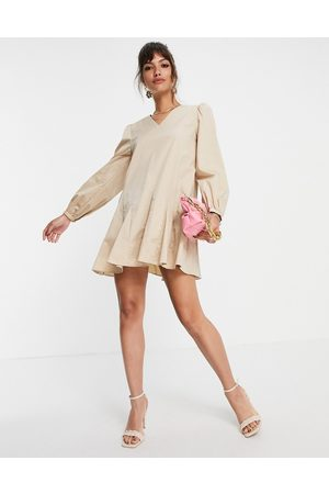 Glamorous A-line shift dress with pleated hem in -Neutral