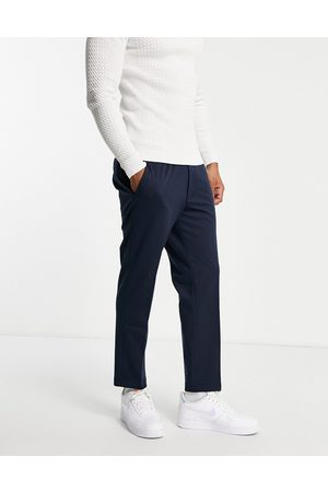 Harry Brown Jersey pleated slim pants with elasticated waist