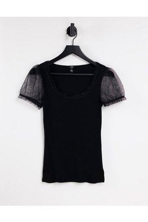 River Island Mesh sleeve t-shirt in