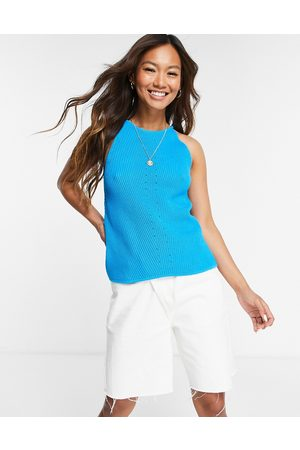 SELECTED Femme knitted racer high neck top in blue