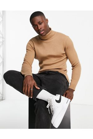 Brave Soul Cotton ribbed roll neck jumper in -Brown
