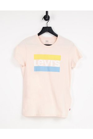 Levi's The perfect t-shirt with stripe logo in light pink shell