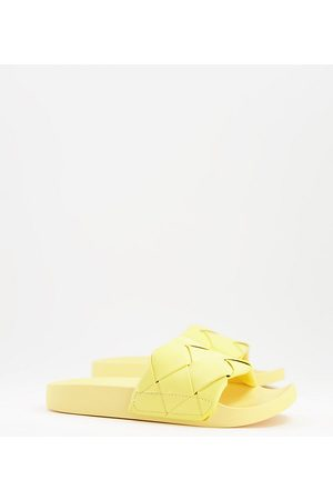 ASOS Wide Fit Finley woven sliders in pale