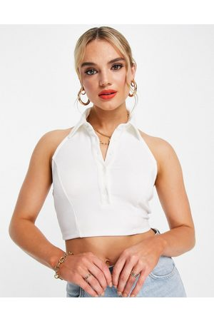 Glamorous High collar button front crop top in rib-White