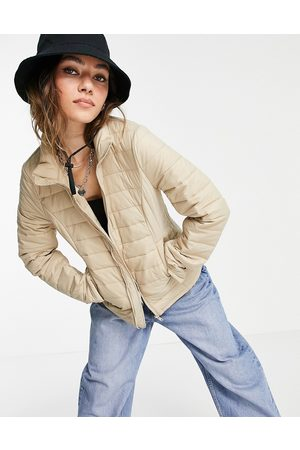 Object Zip through padded jacket in cream-White