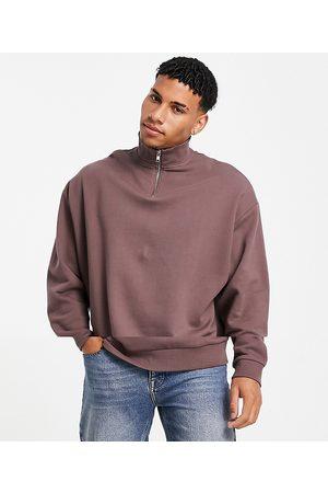 ASOS Oversized half zip sweatshirt in beige/washed brown 2 pack-Multi