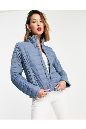 Object Zip through padded jacket in blue