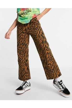 Obey High-waist wide-legged pants in animal print-Brown