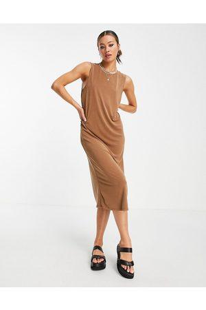 Object Sleeveless midi dress in brown