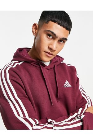 adidas Adidas ZNE hoodie with three stripe in burgundy-Red