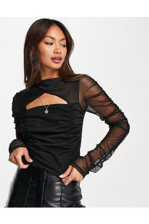 River Island Long sleeve cut out ruched top in