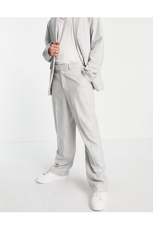 ASOS Wide leg suit pants in grey micro texture