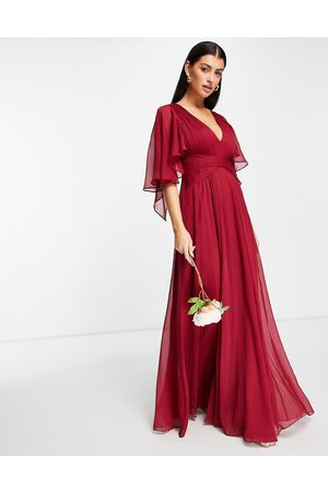 ASOS Bridesmaid ruched bodice drape maxi dress with wrap waist and flutter cape sleeve in -Red