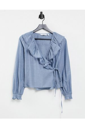 & OTHER STORIES & organic cotton frill detail chambray blouse in blue