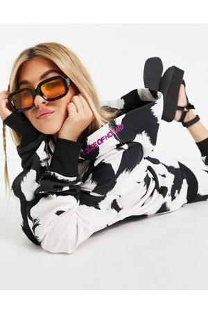 House of Holland Monochrome cow print co-ord hoodie-Multi