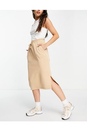 Selected Femme midi skirt with drawstring waist in -Neutral