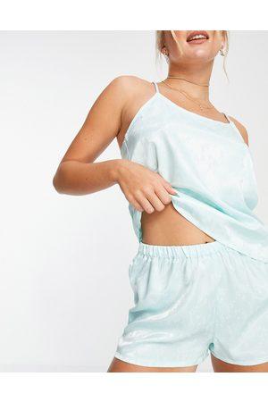 VERO MODA Satin cami top and shorts pyjama set in ditsy floral-Green
