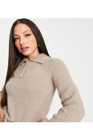 VERO MODA Collared jumper with volume sleeve in camel-Neutral