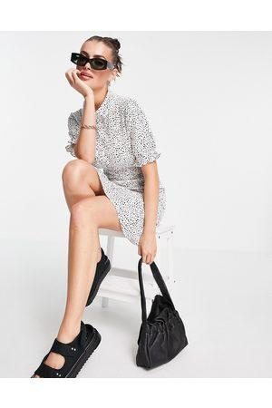 VERO MODA Shirred mini shirt dress in white & black spot-Multi