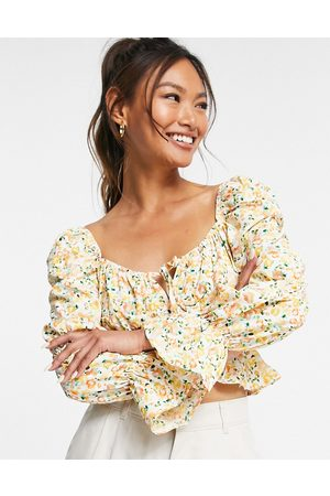 Glamorous Square neck blouse with shirred waist in ditsy floral-White