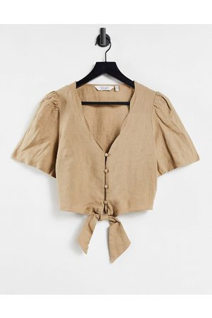& OTHER STORIES & scallop edge tie front blouse in -Neutral