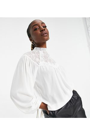 Parisian High-neck lace front blouse in