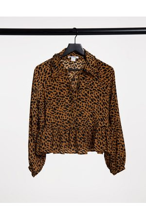 Glamorous Relaxed smocked top with bib collar in leopard print-Brown