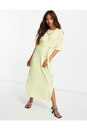 SELECTED Femme plisse T-shirt midi dress with side splits in