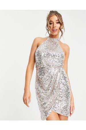 Lipsy London Sequin halter dress in