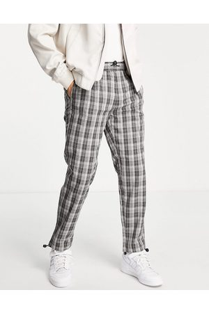 Topman Relaxed check pants in with bungee cord