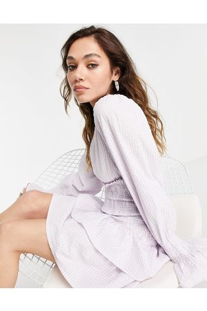 VIOLET ROMANCE Tiered mini dress in lilac gingham-Purple