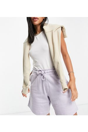 Selected Exclusive Unisex organic cotton sweat shorts co-ord in lilac-Purple