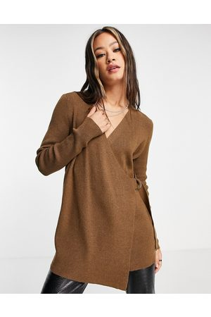 Object Wrap cardigan with buckle detail in brown