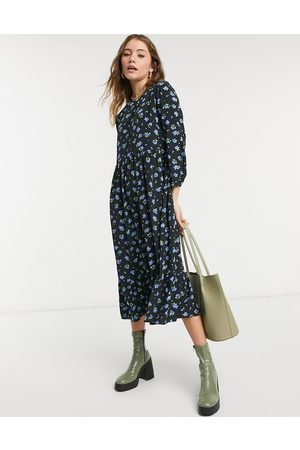 Glamorous Midi smock dress in forget-me-not floral-Black