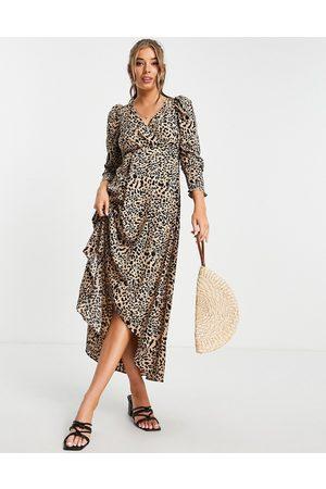 Lipsy London Belted midi dress in leopard-Neutral
