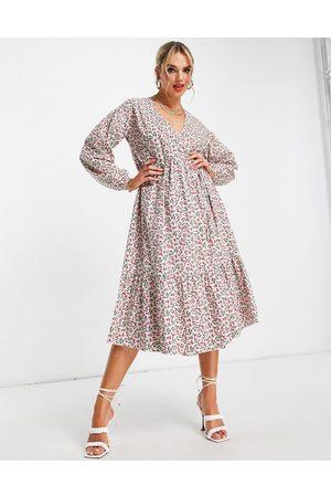 Glamorous Midi wrap dress in print-Multi