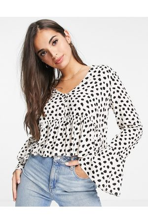 ASOS Button front smock top in cream and black spot print